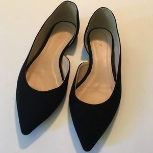 J. Crew Audrey d'Orsay Pointed Flats Black 10